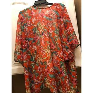 Forever 21 Orange Floral Kimono
